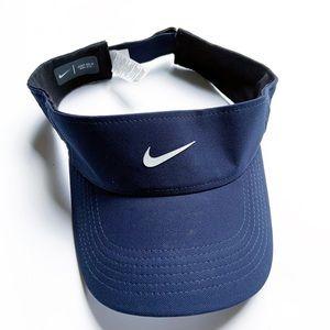 Nike Navy Blue Velcro Visor Hat, OS